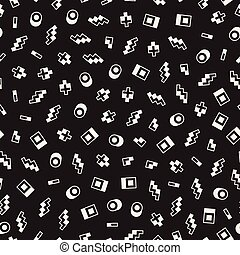 Seamless primitive jumble minimalism patterns. Randomly scattered geometric shapes. Abstract retro backgroun