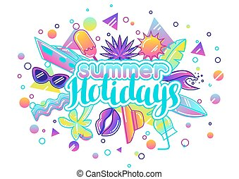 Print with stylized summer objects. Abstract illustration in...