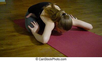 Young beautiful woman yoga in studio life - Young beautiful...