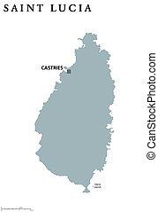 Saint Lucia political map with capital Castries. Caribbean...