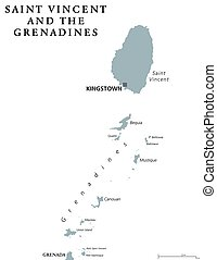 Saint Vincent and the Grenadines political map with capital...