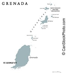 Grenada political map with capital St George's. Caribbean...