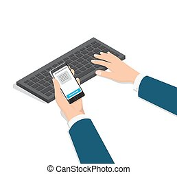 Man Typing on Computer with Phone in Hand Vector - Mens...
