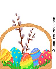 Paschal Wicker Basket With Easter Eggs Vector - Paschal...