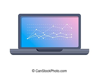 Laptop Icon with Graphic on Screen Flat Vector - Stock...