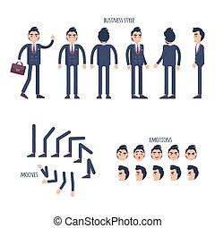 Set of Business Style, Face Emotions, Moves Flat - Set of...