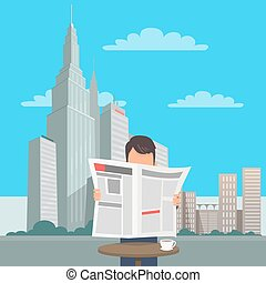 Man with Newspaper at Table on Cityscape Background - Man at...