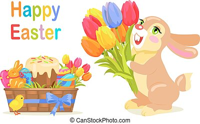 Happy Easter Postcard Design in Flat Style Vector