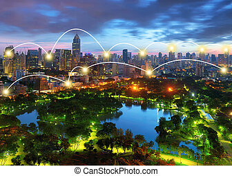 Network and Connection Technology Concept of Lumpini Park in...