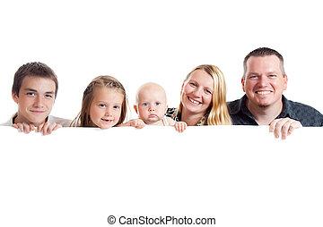 の後ろ, 白, 板, 家族, 幸せ