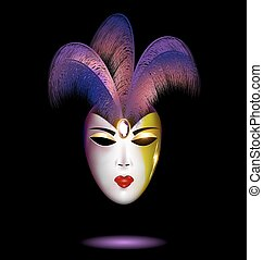 purple-white mask with feathers - dark background and the...
