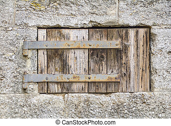 wooden window shutter - house facade including a closed...