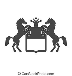 Vintage Heraldic Emblem with Horses. Vector