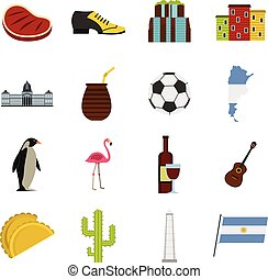 Argentina travel items icons set in flat style isolated...