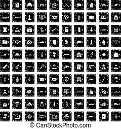 100 military icons set, grunge style - 100 military icons...