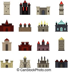 Towers and castles icons set in flat style isolated vector...