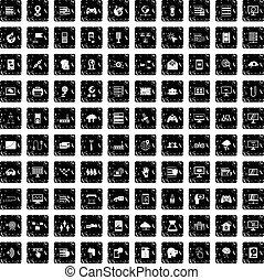 100 network icons set, grunge style - 100 network icons set...