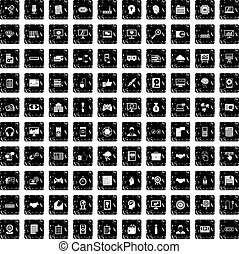 100 web development icons set, grunge style - 100 web...