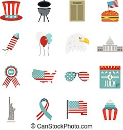 Independence day flag icons set in flat style isolated...