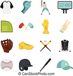 Baseball icons set in flat style isolated vector...