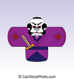 vector japanese cartoon samurai with a sword
