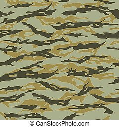 Forest Tiger stripe Camouflage seamless patterns. Vector...