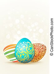 Easter Holiday Background with three decorated eggs