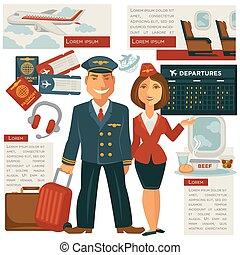 Air travel and aircraft staff or vector cabin crew occupation