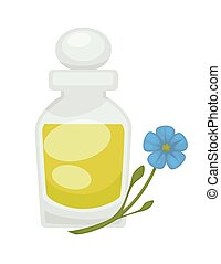 Flax or linseed oil in bottle. Vector flat isolated icon of...