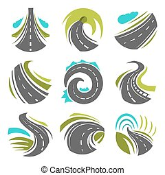 Road or driveway path vector isolated icons set - Road logo...