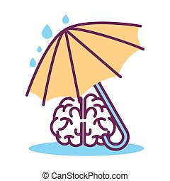 Psychology abstract conceptual symbol of vector human brain under umbrella