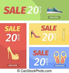 Shopping Night with Big Sale in Shoes Store Poster - Shop...