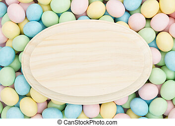 Old fashion Easter background, Retro Easter eggs candy with...
