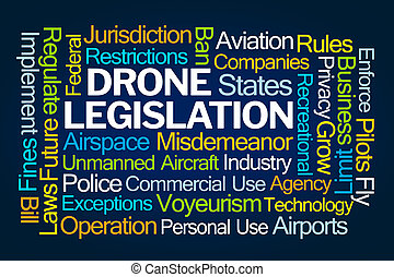 Drone Legislation Word Cloud on Blue Background