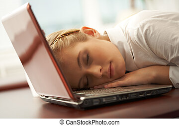 Tranquility - Photo of young pretty girl having a nap just...