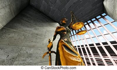 Themis with scale and sword in prison cell - Themis with...