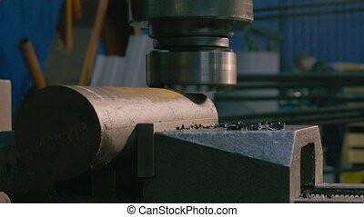 Working milling machine - Close up of working milling...