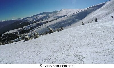 Landing from ski lift - View from ski lift in winter