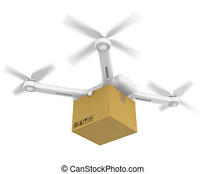 Drone with Cardboard Isolated - Drone with Cardboard...