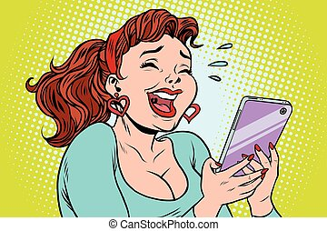 Comic girl laughing to tears reading a smartphone. cartoon...
