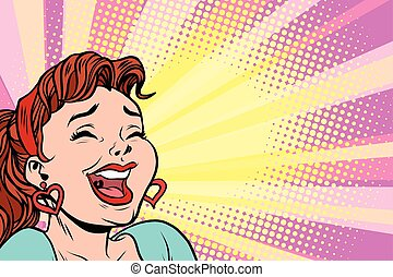 young woman laughs, style pop art poster. Comic cartoon...