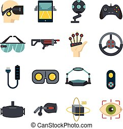 Virtual reality icons set in flat style isolated vector...