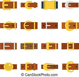 Belt buckles icons set in flat style