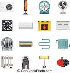 Heating cooling air icons set in flat style