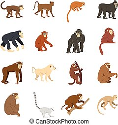 Monkey types icons set in flat style