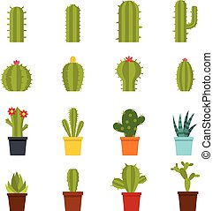 Different cactuses icons set in flat style isolated vector...