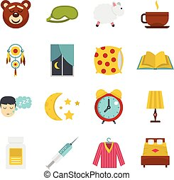 Sleep icons set in flat style isolated vector illustration