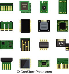 Computer chips icons set in flat style