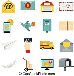 Poste service icons set in flat style isolated vector...