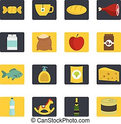Shop navigation foods icons set in flat style